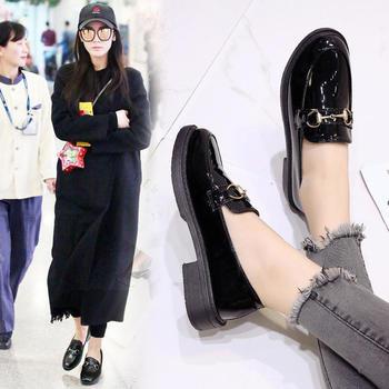 CONGC2019新款复古粗跟休闲小皮鞋女鞋厚底单鞋