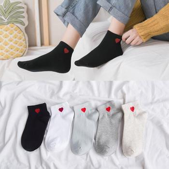 赛棉 5双装春夏季韩版爱心短筒女袜棉袜百搭舒适亲肤