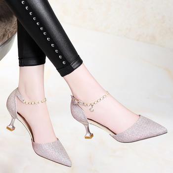 浅口女尖头高跟鞋细跟温柔仙女鞋