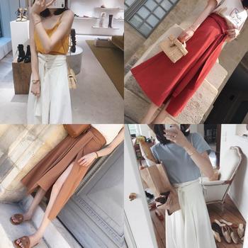金蘑菇菇 随性大裤衩 洋气肌理系带开叉裙裤