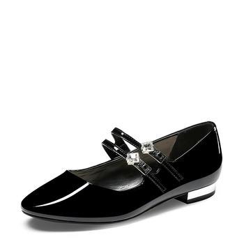 卓诗尼春新品单鞋女甜美水钻浅口圆头低跟漆皮女鞋