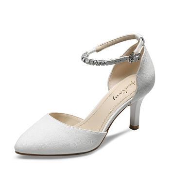 卓诗尼春季新款单鞋细高跟浅口通勤一字扣尖头鞋