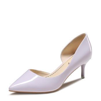 卓诗尼春新款尖头高跟鞋浅口细跟单鞋职业浅口女鞋