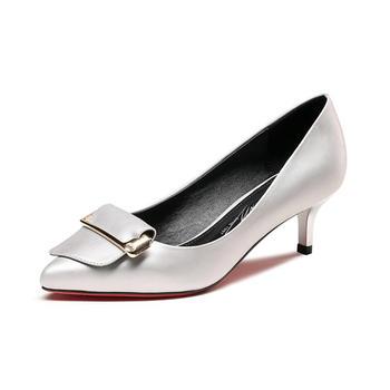 卓诗尼单鞋女新款尖头细跟高跟鞋通勤金属工作鞋女鞋