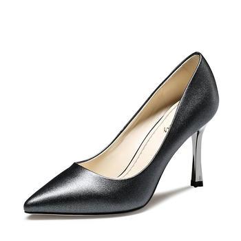 卓诗尼春季新款尖头细跟单鞋浅口高跟休闲女鞋