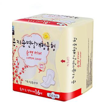 韩国进口恩芝(Eunjee)纯棉日用卫生巾 250mm*16片