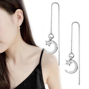 韩版气质月牙星星长款耳线修饰脸型闺蜜礼物