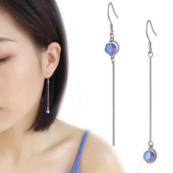 蓝色冰糖个性不对称耳坠修饰脸型气质百搭