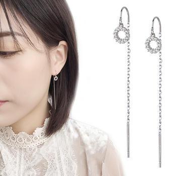 韩版镶锆圆圈长款流苏耳线修饰脸型