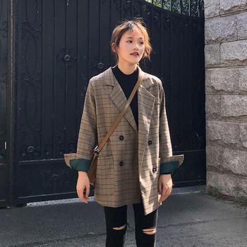 XYMZ 2019春季韩版复古格子chic小西装外套女ins格纹西服
