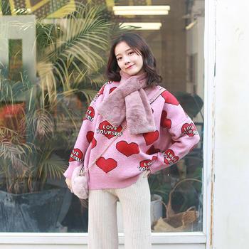 HiDou 大爱心毛衣·少女撞色甜美宽松上衣