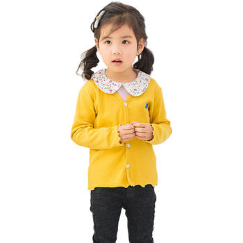猪猪的故事女童休闲外套2019春秋新款童装V领外搭线衣
