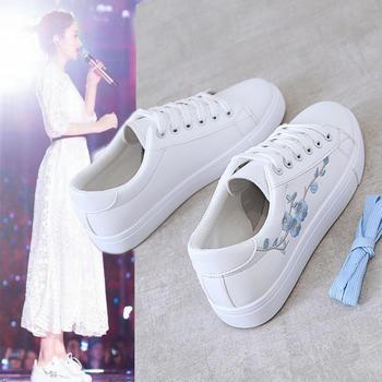 蝶恋霏韩版精致刺绣系带休闲女鞋小白鞋
