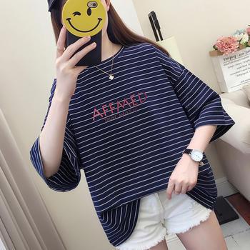 2019字母条纹短袖T恤女学生短袖上衣