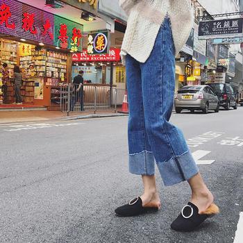 KDN 2019翻边高腰九分阔腿卷边直筒裤女宽松牛仔裤