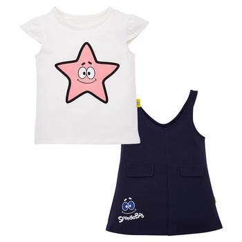 海绵宝宝儿童童装 女童背带裙套装 时尚潮流
