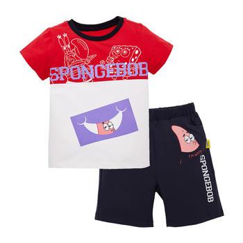 海绵宝宝儿童套装 男童撞色半袖短裤 夏季款
