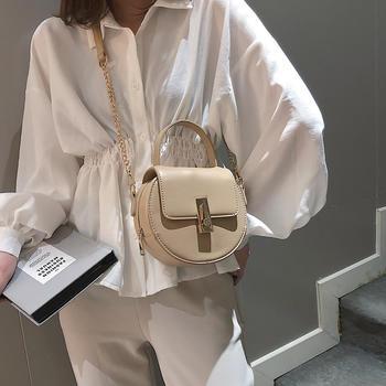 雅诗罗 2019新款简约小圆包单肩斜跨链条女包手提包包