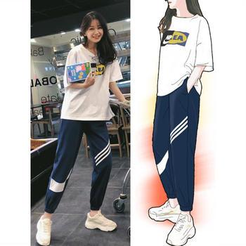 KDN 韩版运动套装短袖T恤休闲两件套女新款哈伦九分裤