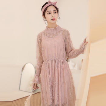 L'BON2019春装新款蕾丝小立领收腰韩版两件套女连衣裙