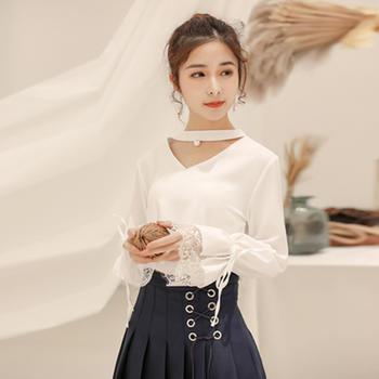 L'BON019早春新款雪纺上衣衬衫打底衫蕾丝拼接衫