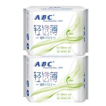 ABC卫生巾日用亲柔立围绵柔姨妈mini巾超薄190mm*2包