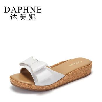 Daphne/达芙妮一字宽面蝴蝶结低跟厚底凉拖鞋1017303167
