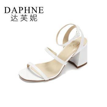 Daphne/达芙妮女时尚背带方头?#25351;?#38706;趾凉鞋1017303815