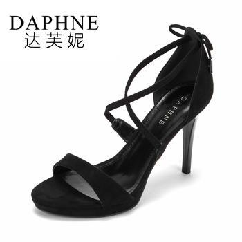 Daphne/达芙妮夏季简约露趾绒面交叉系带女凉鞋