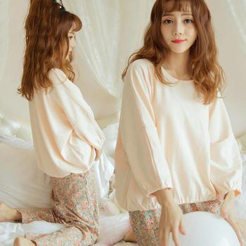 啵啵纯春季新品长袖睡衣家居服两件套套装