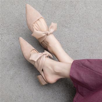 慕沫新款夏季拖鞋女平底鞋真皮外穿半拖包?#38450;寥送?#22899;