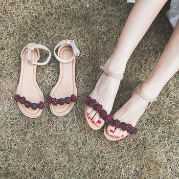 慕沫夏季新款凉鞋女学生一字扣带露趾?#25351;?#38795;草莓鞋女