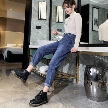 牛仔裤女宽松高腰直筒裤W201910春季新款韩版坠感九分