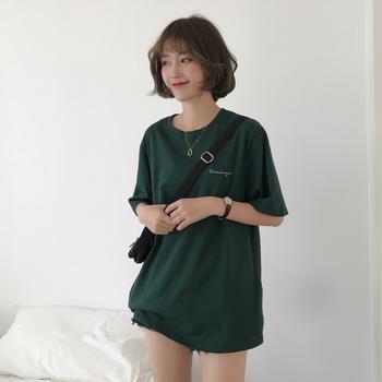 露雪韩版短袖女字母印花韩风t恤潮