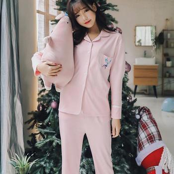 颖贝尔@日系小清新睡衣女纯棉长袖甜美两件套装休闲