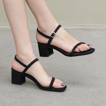 慕沫学生夏季凉鞋女?#25351;?#38706;趾鞋一字扣带罗马鞋女鞋