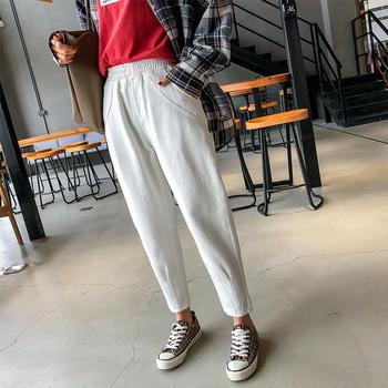 可奈丽莎白色牛仔裤女新款宽松春秋怪味少女老爹裤子