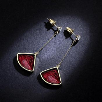 卡洛美 韓國氣質扇形紅色流蘇耳環網紅個性長款耳墜