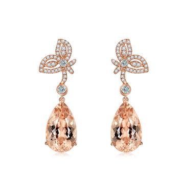 今上珠宝18K玫瑰金摩根石耳钉水滴形彩色宝石耳饰蝴蝶