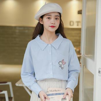 女装春季新款打底衫上衣卡通刺绣宽松衬衫长袖
