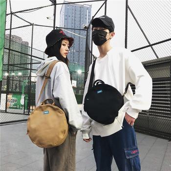 萨兰丹迪男士帆布小圆包情侣款时尚单肩包