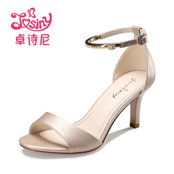 卓诗尼新款高跟细跟凉鞋休闲露趾一字扣带女鞋124717902