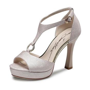 卓诗尼新款时尚?#25351;?#20937;鞋超高跟丁字扣露趾女鞋124760402