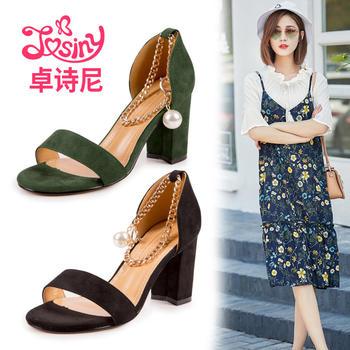 卓诗尼夏款女鞋时尚?#25351;?#39640;跟绒面舒适女凉鞋