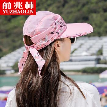 俞兆林蝴蝶结防晒帽遮脸太阳帽防紫外线空顶帽遮阳