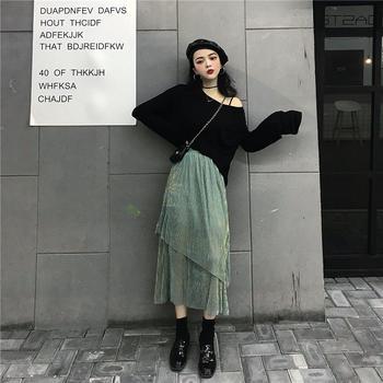 小贤 温柔舒适蛋糕半身中裙+大圆领两穿Tee