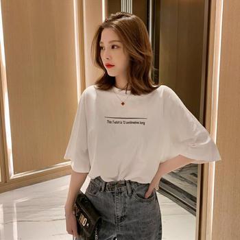 衣岚香韩版圆领字母印花五分袖短袖T恤女