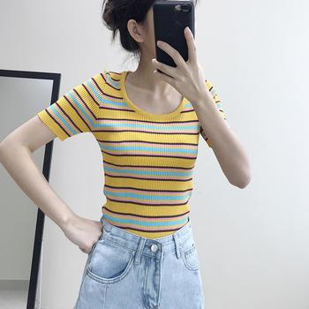 兰菲撞色条纹针织修身显瘦百搭圆领T恤