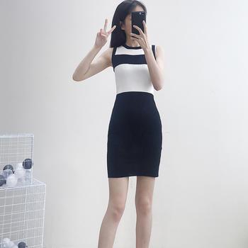 兰菲港风时尚撞色针织包臀修身显瘦无袖连衣裙子