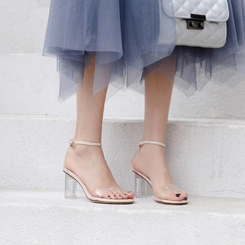 慕沫夏季新款凉鞋?#25351;?#39640;跟鞋一字扣带露趾仙女水晶鞋